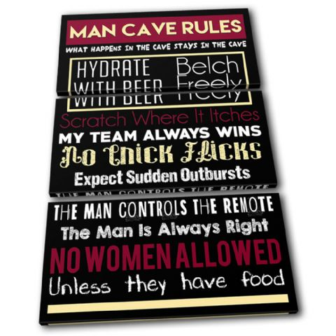 Man Cave House Rules Typography - 13-2372(00B)-TR32-PO